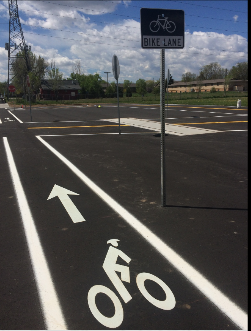 Bicycle lane and sign